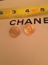 2 Super Rare Chanel Sunburst Starburst Gold Cc Buttons Vintage Signed Salvaged