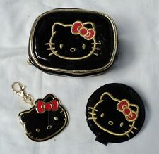 Sanrio Hello Kitty Patent Black and Gold Pouch Coin Purse, Key Chain, Mirror
