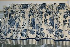 "Felicite Waverly Blue Cream Floral Toile Valance 17"" x 55"" Medium Wt Curtain"