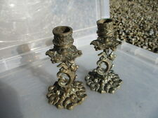 "Vintage Cast Brass Candlesticks Candle Holder Gilt Leaf Flowers Old  5.5"" height"