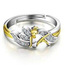 TINKER BELL FAIRY 925 STERLING SILVER CZ STONE WOMEN'S RING BAND ONE SIZE SS2065