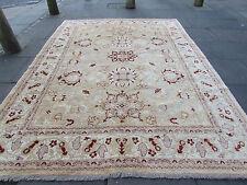 "HANDMADE Natural Dye Afghan Zigler Browns Reds Wool Carpet 324x243cm 10'10""x8'"