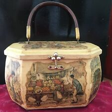 Vintage Anton Pieck Wooden Decoupage Box Purse with Lucite Handle Colonial