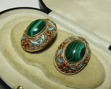 BEAUTIFUL, ANTIQUE, CHINESE, STERLING SILVER ENAMEL EARRINGS WITH FINE MALACHITE