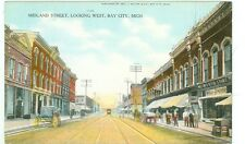 BAY CITY,MICHIGAN-MIDLAND STREET LOOKING WEST-BOOKSTORE-PRE1920-(MICH-B)