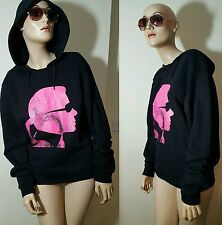 Genuine Karl Lagerfeld Black Pink Hoodie Cotton Hooded Sweater Jumper M 10 12 14