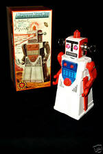 Chief Robot Man Rare White Battery operated tin robot with spinning antennas MIB