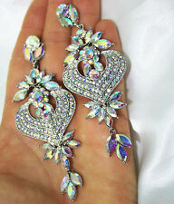 AB Statement Rhinestone Chandelier Earrings Prom Pageant Drag Queen 4 inch Long