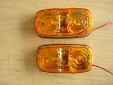 2 VINTAGE NOS AMBER SIGNAL STAT 9007 SIDE MARKER LIGHTS, U.S.A.Metal Base #1203