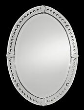 NEW LARGE OVAL FRAMELESS BEVELED WALL MIRROR SMALL CONVEX MIRRORS BATHROOM