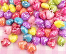 25 x Pearlised Kawaii 3D Heart Shaped Colourful Plastic Beads Jewellery Making