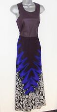 BNWT Love Label Faux Leather Chiffon Print Maxi Evening Occasion Day Dress 12