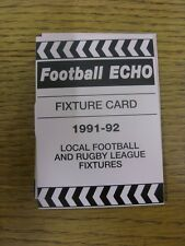 1991/1992 Fixture List: Football Echo - Fold Out Style Card Covering The Fixture