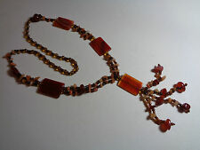 MODERNIST FESTIVAL CARNELIAN AGATE NECKLACE FREE FORM BEADS RECTANGE LOZANGE