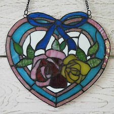 VINTAGE TIFFANY Stained Glass Panel PLACCA BLUE Heart FLOREALE CON ROSE Suncatcher