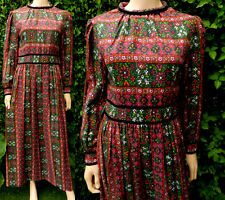 1970,s Vintage Dress Maxi Folk Dress Cotton Peasant Historical Tudor Rose 12