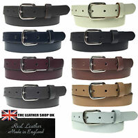 """New Quality Mens Womens 1"""" Silver Buckle Real Leather Made 25mm Belt In England"""