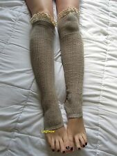 Toeless Crochet Cable Knit Rib Over The Knee High Socks Women OTK Lace Top Boot
