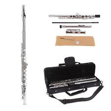Western Concert Professional Flute Silver Plated 16 Holes C Key+Padded Case D2G7