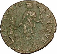 Theodosius I the Great with kneeling woman AE2 RARE Ancient Roman Coin i40402