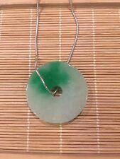 Chinese Style Gift Vintage Green Burma Jade Necklace Sterling Silver (JP75)