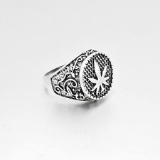 Size 8# Mens Stainless Steel Silver Cannabis Leaf Band Ring Fashion Jewelry