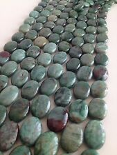 Prase Quartz Chalcedony 13x18mm oval bead green gemstone strand SHIPS from US