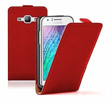 Ultra Slim RED Leather Case Cover For Samsung Galaxy Duos SM-J100H SM-J100H/DS