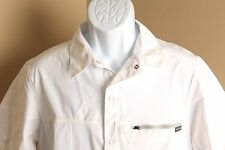 Men's NWT solid white Columbia Omni-Shade snap button s/s shirt Medium M new