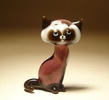 "Blown Glass ""Murano"" Art Figurine Animal Small Purple and White Kitten CAT"