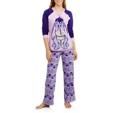 NEW WOMENS PLUS SIZE 3X PURPLE EEYORE 2PC MICROFLEECE PAJAMAS PAJAMA SLEEP SET