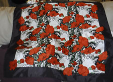 "PAOIL Floral Scarf, Poppies 27 x 27""   Brown Border, Silk or Poly"
