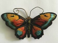 Vintage Large David Andersen Sterling Silver 925 Enamel Butterfly Brooch Norway