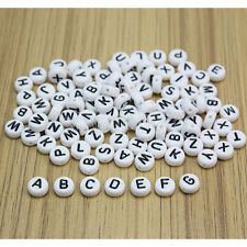 100Pcs White Mixed Acrylic Alphabet Letter Flat Spacer Beads For Jewelry Making
