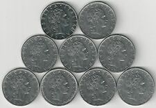 9 DIFFERENT 50 LIRE COINS from ITALY with CONSECUTIVE DATES of 1974-1983