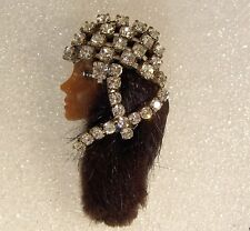 LADY HEAD Ethnic FACE brooch Pin Porcelain-Look Resin Flapper RS Rhinestone Mink