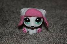 Littlest Pet Shop Polar Bear & Hat Set #2298 White Pink Blue Eyes LPS Toy Hasbro