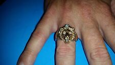 14K YELLOW GOLD LIONS HEAD DIAMOND RING .5 TCW // STRIKING & HEAVY 14.8 GRAMS