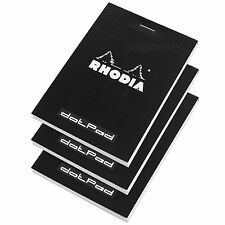 Set of 3 Rhodia Black A7+ dotPad Dot Matrix Grid Note Book Pads Graphic Design