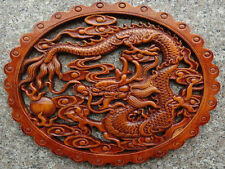 CHINESE HAND-CARVED DRAGON STATUE CAMPHOR WOOD PLATE WALL SCULPTURE N2