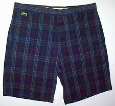 Mens 36 LaCoste Sport Navy Blue Cotton w/ Red & White Checks Casual Shorts 46 Fr
