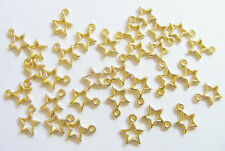 50 Gold Plated Open Star Charms Pendants - 13mm