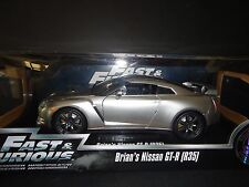 Jada Nissan GT-R R35 Brian's Car Silver Fast and Furious 7 1/18