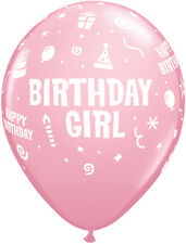 "6 x Pink Birthday Girl 11"" Latex Balloons Ideal Birthday Party Decoration"