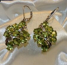 8.75 Ct, Peridot Earrings, Dangle, Cluster, Platinum Overlay Sterling Silver