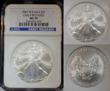 USA 2007 W Eagle MS70 ER 1 Oz Silver Coin.