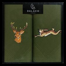 Stag and Hare Green LARGE hankies  hankerchiefs useful  shooting gift Boxed