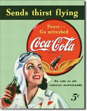 Coca Cola Coke Vintage Poster Picture Tin Sign Women Aviator Pilot Flying Plane