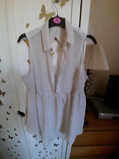 LADIES DARK CREAM CHIFFON BLOUSE WITH CUT OUT BACK SIZE 10
