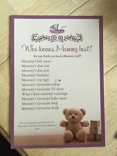 Baby Shower Game / Who Knows Mummy Best? Pack Of 20